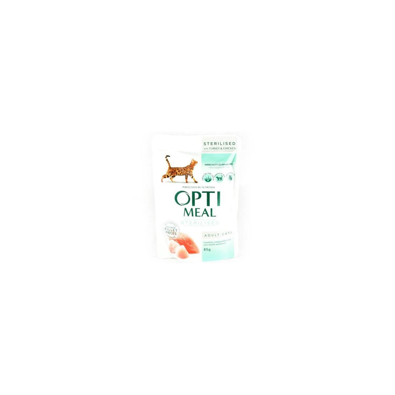Optimeal - Optimeal Cat Hrana umeda pentru pisici sterilizate, cu file de curcan si pui in sos