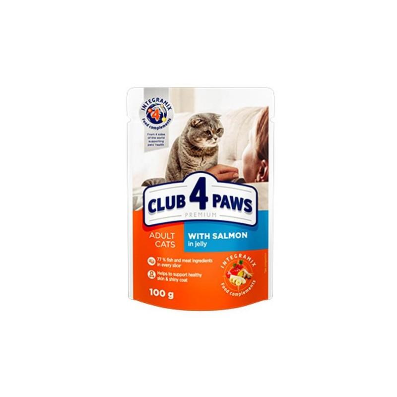 Club 4 Paws - Club 4 Paws Hrana umeda completa cu somon in jeleu pentru pisici adulte