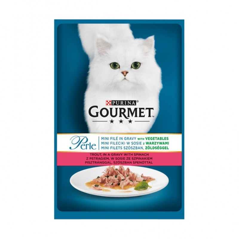 Gourmet - Gourmet Perle cu pastrav si spanac in sos, Hrana umeda pentru pisici