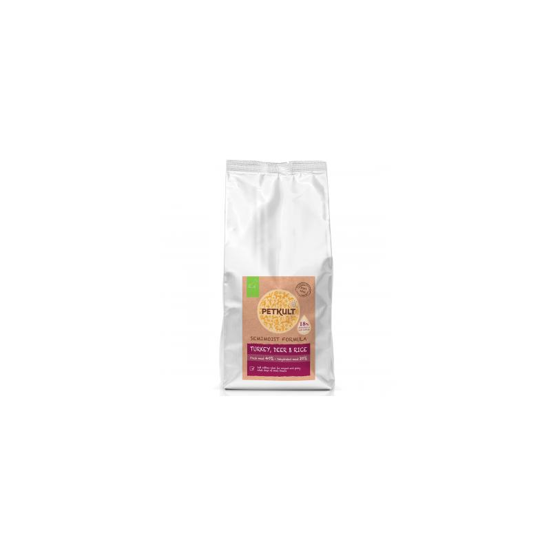 Petkult - Petkult Hrana semi-umeda pentru caini adult talie mica cu curcan, caprioara si orez