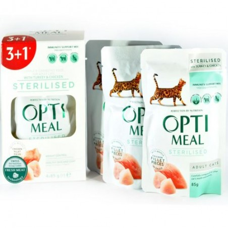 Optimeal - Optimeal Pachet 3+1 Sterilizate Curcan si Pui in sos